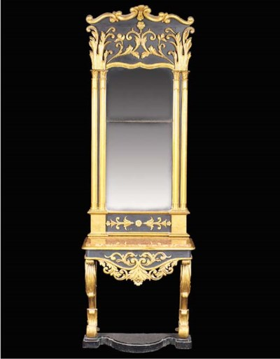 A CARVED GILTWOOD AND BLACK PA