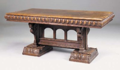 AN OAK REFECTORY TABLE, 20TH C