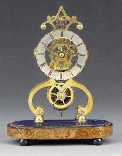A Regency brass skeleton timep