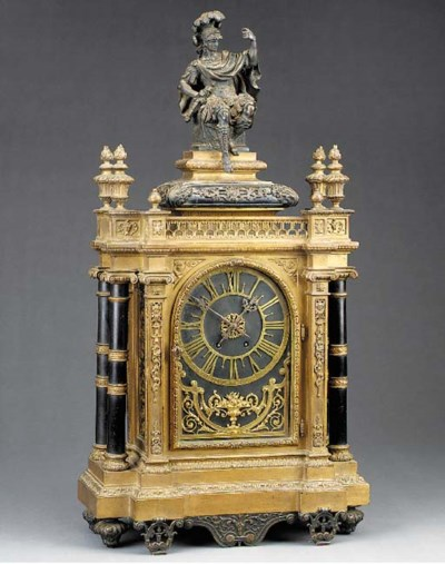 A French large gilt and patina