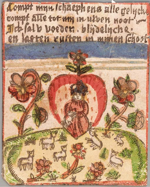 DEVOTIONAL WOODCUT, depicting the Christ Child within the sacred heart amidst pansies above a flock of sheep, 4 lines of text in Dutch above, beginning 'Compt myn schaeph ens alle geliyche...'. [The Netherlands: 16th-century].