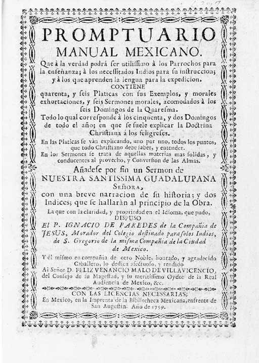 PAREDES, Ignacio de. Promptuario Manual Mexicano, Mexico: Imprenta de la Bibliotheca Mexicana, 1759.