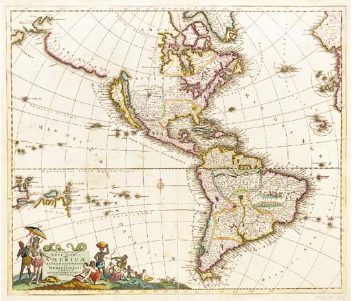 """DANCKERTS, Justus.  Recentissima Novi Orbis sive Americae Septentrionalis et Meridonalis Tabula, Amsterdam: [ca. 1690]. Hand-coloured engraved map, elaborate cartouche incorporating figures of South American figures (some light staining, a few spots), 495 x 582mm. Tooley The Mapping of America vol. II, p.124: """"A reissue of the Visscher-De Wit map, showing California as an island with a Terra Esonis stretching from there to a Terre de Yedso."""""""