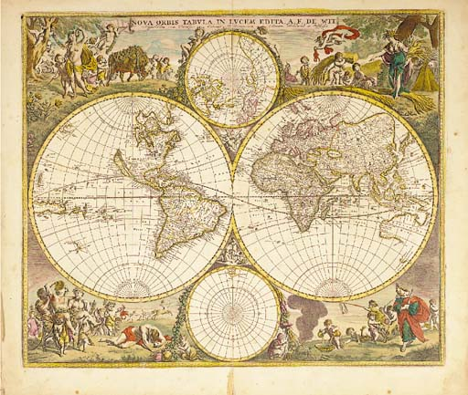"""DE WIT, Frederick.  Nova Orbis Tabula, in Lucem Edita, Amsterdam: ca. 1680. Hand-coloured engraved twin-hemisphere map with 2 smaller maps of the North and South Poles, border, cherubs in cusps, """"Nova Guinea"""" and """"Quiri Regio"""" in left hand hemisphere (a few spots, marginal tear at foot of centrefold), 480 x 566mm. Shirley The Mapping of the World 451: """" ... De Wit's map is one of the most attractive of its time. The brilliant scenes in the corners combine images of the four seasons, the elements, and the signs of the zodiac in a well-balanced and naturalistic way"""" (Shirley)."""