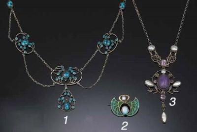 An Art Nouveau opal and plique
