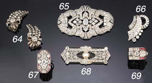 An Art Deco diamond and calibr