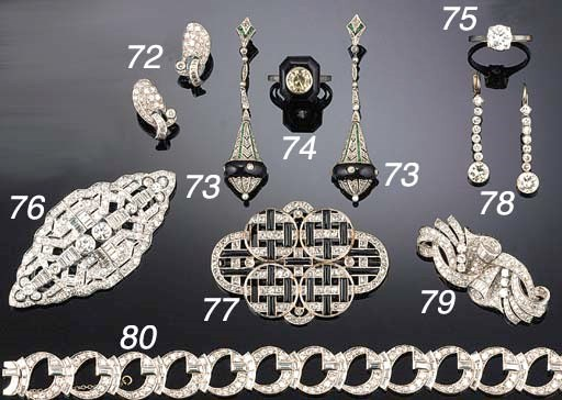 A pair of Art Deco diamond and