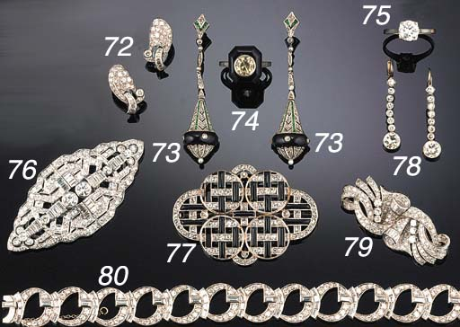 An Art Deco diamond and onyx p