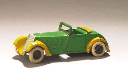 A pre-war Dinky lead-cast green 22c Roadster Sport Two-Seater