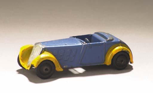A pre-war Dinky lead-cast blue 22c Roadster Sport Two-Seater