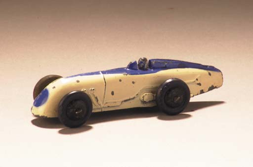 Pre-war Dinky white and blue 23a Racing Cars