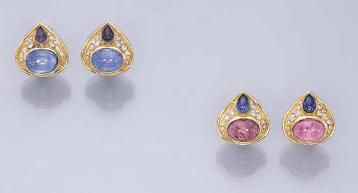 TWO PAIRS OF MULTI-GEM EAR CLI