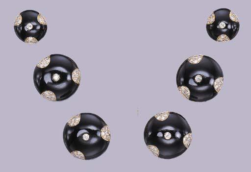 A GROUP OF ONYX AND DIAMOND BU
