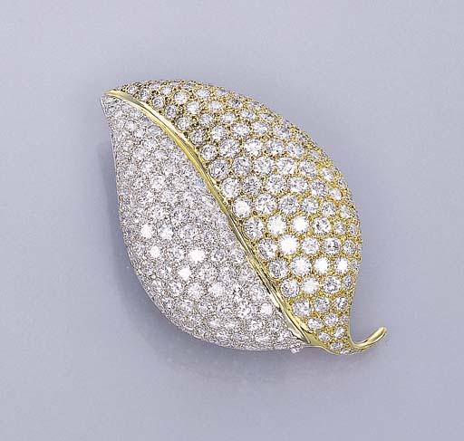 A DIAMOND LEAF BROOCH, BY FARA