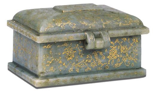 AN ANTIQUE NEPHRITE BOX
