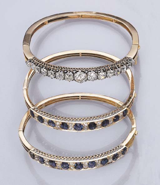 THREE ANTIQUE MULTI-GEM BANGLE