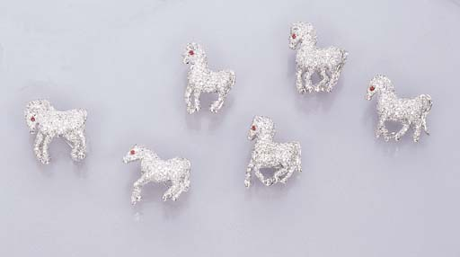 A GROUP OF SIX HORSE BROOCHES