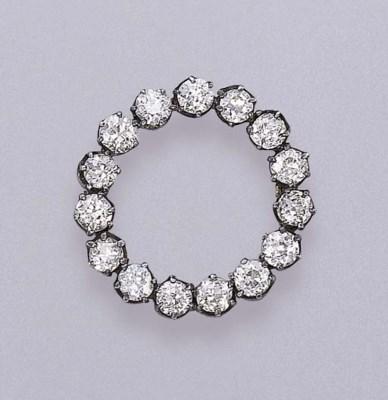AN ANTIQUE DIAMOND CIRCLE BROO