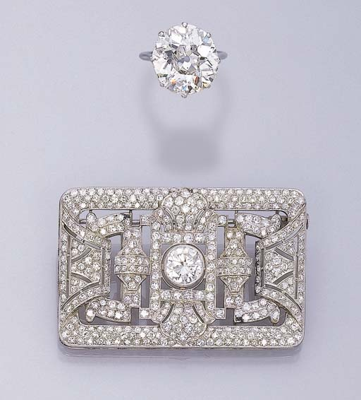 A DIAMOND BROOCH AND A DIAMOND