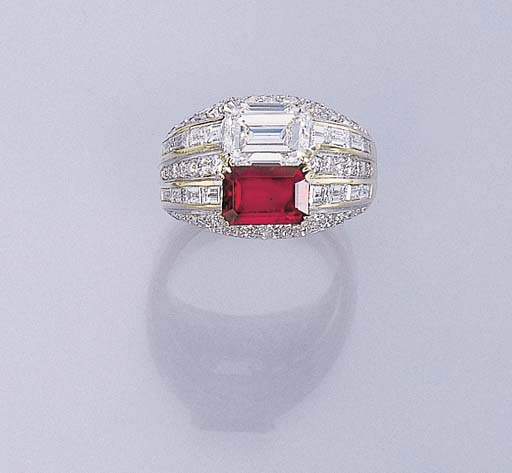 A TWIN-STONE RUBY AND DIAMOND
