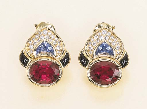 A PAIR OF TOURMALINE AND SAPPH