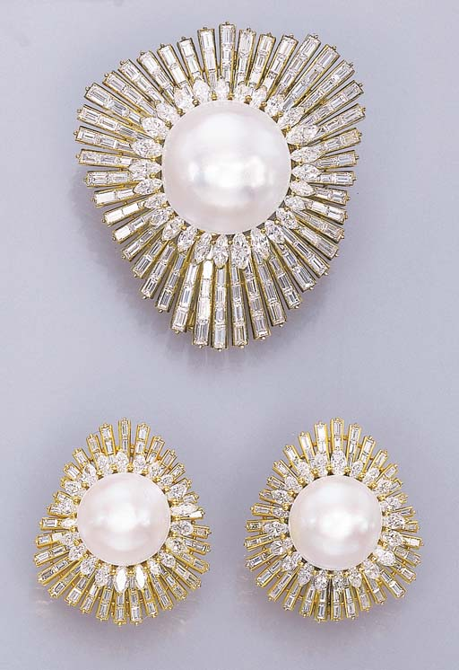 A SET OF MABÉ PEARL AND DIAMON
