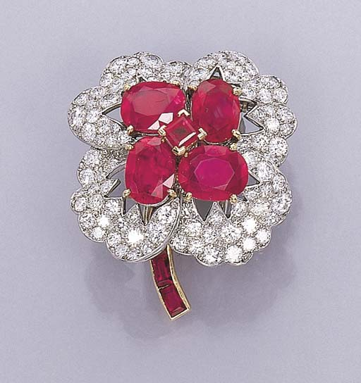 A FINE RUBY AND DIAMOND FLOWER