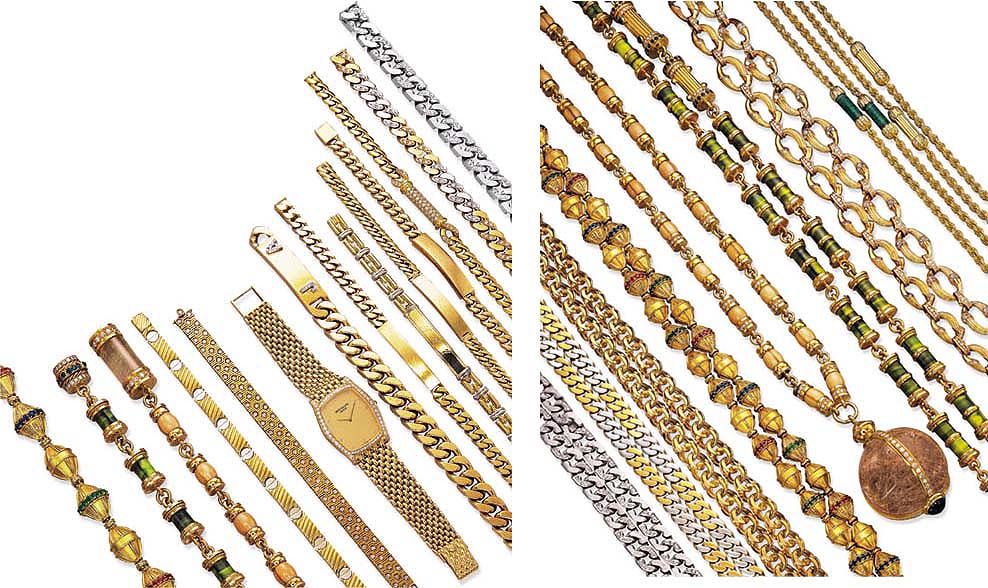 A GROUP OF JEWELLERY, A WRISTW