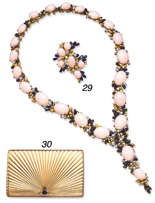 A SUITE OF CORAL, SAPPHIRE AND