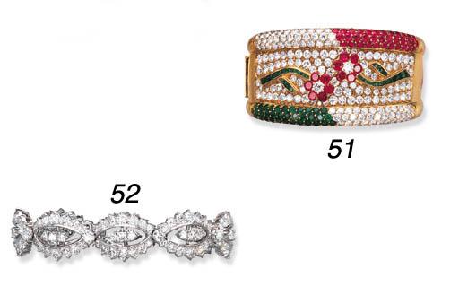 A DIAMOND AND MULTI-GEM BRACEL