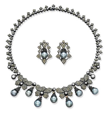 A suite of Tahitian Grey cultured pearl, diamond and coloured diamond jewellery. Sold for CHF 19,975 on 17 May 2001 at Christie's in Geneva