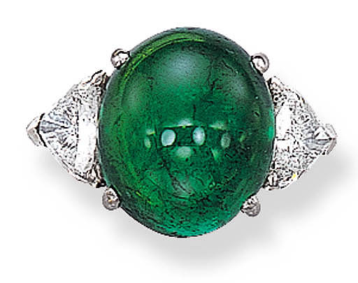 A CABOCHON EMERALD RING, BY FA