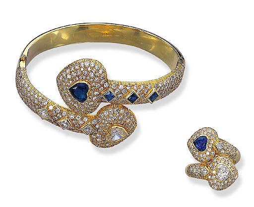 A SET OF DIAMOND AND SAPPHIRE