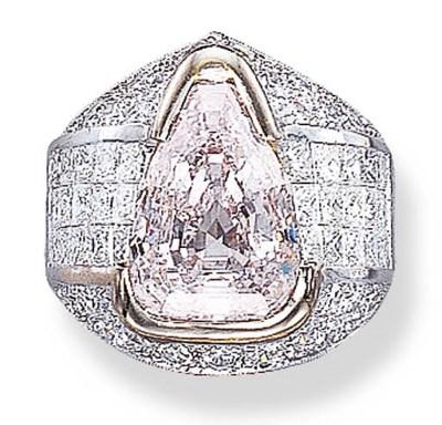 A VERY LIGHT PINK DIAMOND RING