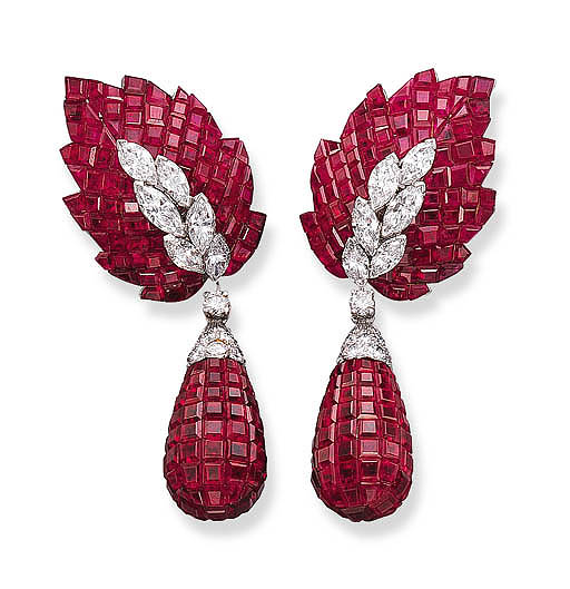 A PAIR OF RARE RUBY AND DIAMON