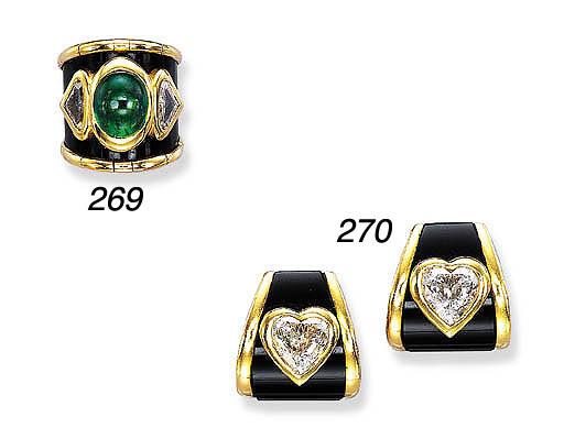 AN EMERALD, DIAMOND AND BLACKE
