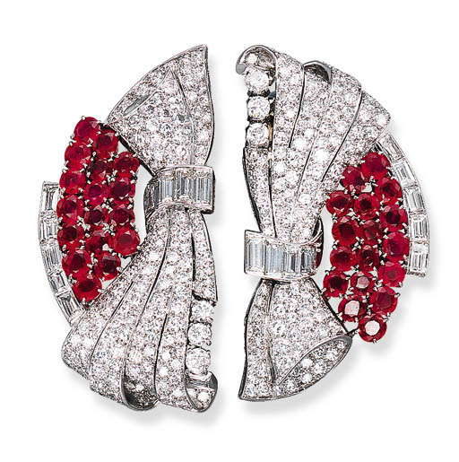A PAIR OF DIAMOND AND RUBY CLI
