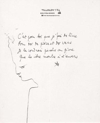 COCTEAU, Jean. Poème autograph