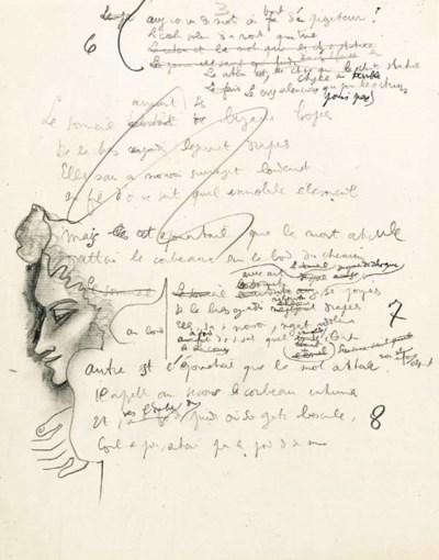 COCTEAU, Jean. Manuscrit autog
