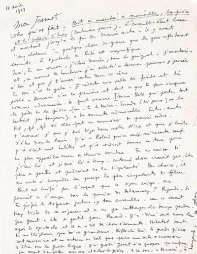 COCTEAU, Jean. Lettre autograp