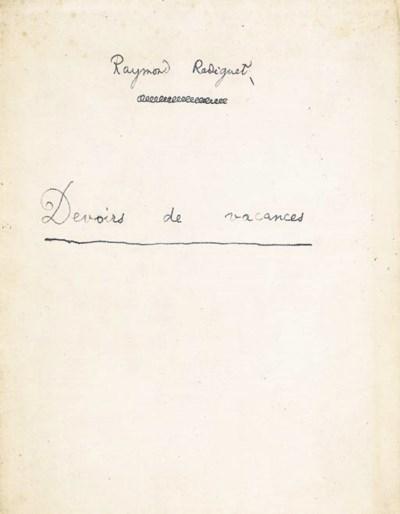 RADIGUET, Raymond. Devoirs de