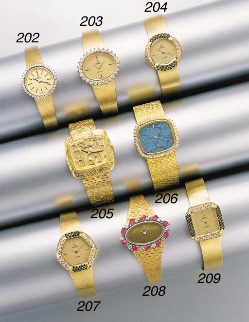 Omega. A lady's 18K gold and d