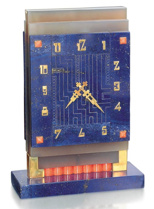 Lapis lazuli, coral and agate table clock, Boucheron, 1929. Sold for CHF 64,625 on 13 November 2001 at Christie's in Geneva