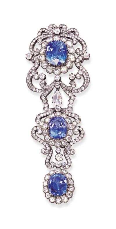 A SAPPHIRE AND DIAMOND CLIP BR