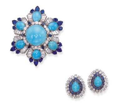 A SET OF TURQUOISE, SAPPHIRE A