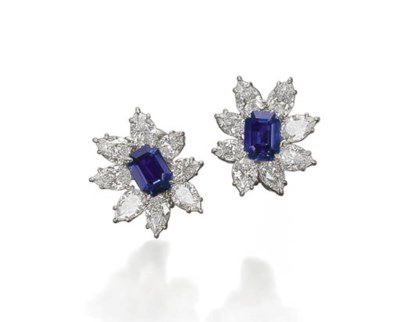 A PAIR OF DELICATE SAPPHIRE AN