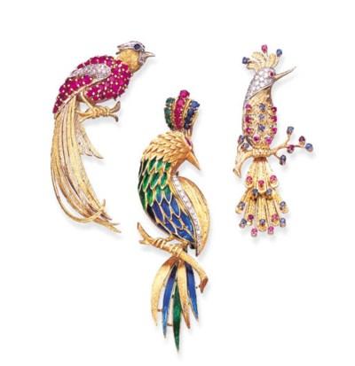 THREE MULTI-GEM BIRD BROOCHES