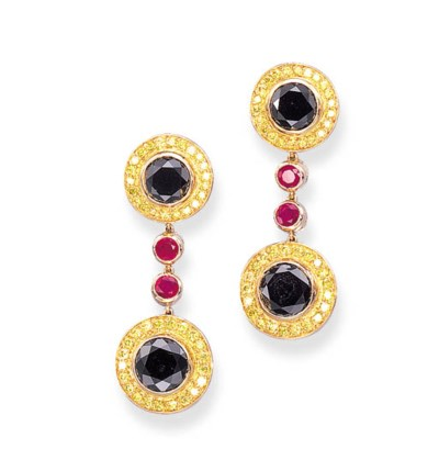 A PAIR OF BLACK DIAMOND, COLOU