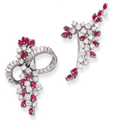 TWO DIAMOND AND RUBY CLIP BROO