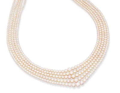 A FIVE-STRAND PEARL NECKLACE